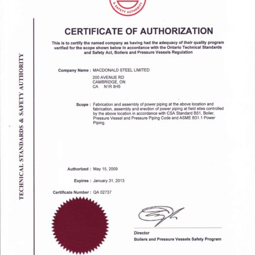 HDP - Certificate of Authorization - Power piping