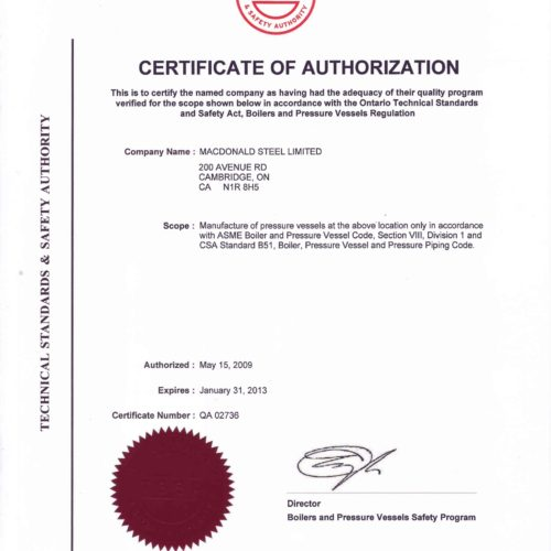 HDP - Certificate of Authorization - Pressure Vessel