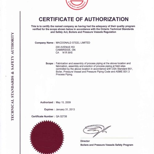 HDP - Certificate of Authorization - Process Piping