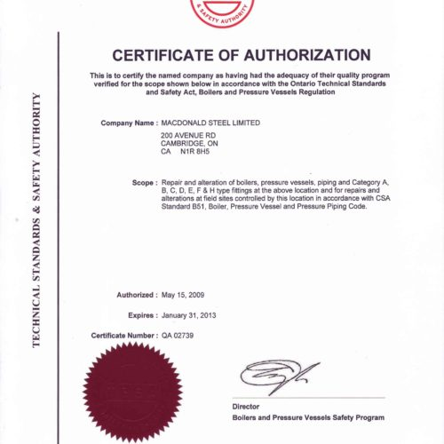 HDP - Certificate of Authorization - Repair